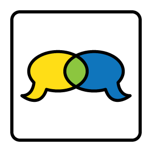 Two cartoonish speech bubbles of different colors overlapping to create a new blended color
