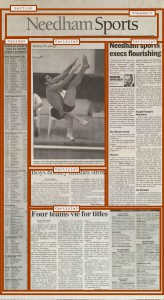 "Layout of newspaper section, ""Needham Sports"", with overlays of relevant sections"