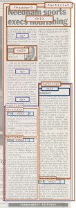 Example of using nested Sectioning Elements within a parent story marked up on an example of a newspaper article.