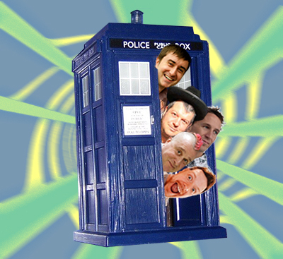 Incredibly campy photoshopped Tardis stuffed with headshots of Rich Clark, Steve Faulkner, Bruce Lawson, Remy Sharp, Oli Studholme, and Ian Devlin egregiously stolen from the web.